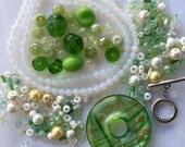 Green Murano Donut Glass Pendant Opalite Beads a Plenty Kit