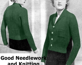 "Fabulous Ribbed 1930s Plus Size Cardigan 42 to 46"" Bust Vintage Knitting Pattern Pdf Download"