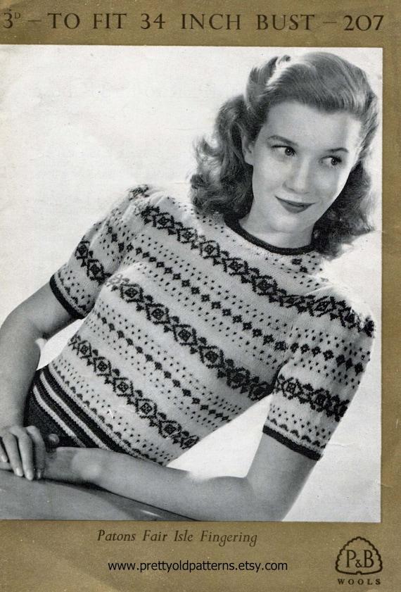 Great Ladies Late 1940s Fair Isle Jumper 34 Bust Patons 207 ...