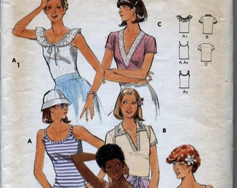 Vintage Misses' T-Shirt in Six Versions Sewing Pattern - Butterick 5486 - Size 12