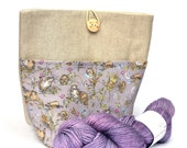 Linen/Cotton Small Project Knitting Bag with Pocket, crochet, storage, gift bag, with lilac otter fabric and wooden button fastening