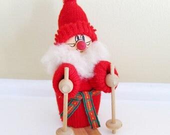 Vintage Swedish Wooden Sking Santa Elf Tomte on Skies