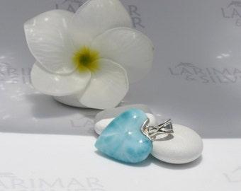 Larimarandsilver pendant, Liquid Heart - aqua teal Larimar heart, aquamarine heart, minty, love stone, siren heart, handmade Larimar pendant