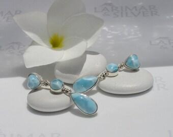 Larimarandsilver earrings, Summer Love 6 - sky blue Larimar stones, topaz blue, blue hearts, 925 silver earrings, handmade Larimar earrings