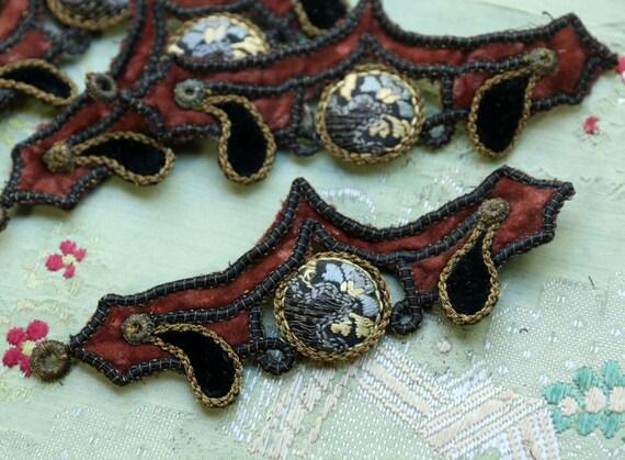 1 antique flapper velvet metal lace applique passementerie handmade millinery trim soutache cording rusty red gold black button