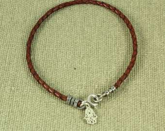 Hamsa Bracelet, Braided  Leather with Sterling Silver Charm. Red leather KABBALAH bracelet  - ElenadE