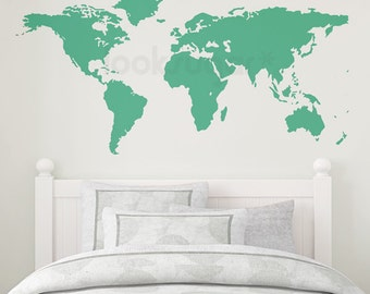 World Map Wall Art - Wall Decal for Home , Retail , or Office. Extra Large World Map Wall Decal - 0111