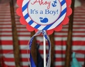 Nautical BABY SHOWER Cake Topper - Boys Baby Shower Decoraitons - Nautical Baby Shower - Cake Topper - Whales and Anchors