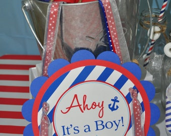 Nautical BABY SHOWER Door Sign - Boys Baby Shower Decorations - Nautical Baby Shower - Party Sign - Welcome Sign - Whales and Anchors