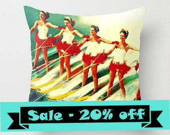 Mid Century Modern Pillow, Water Ski Pillow Cover, Gifts for Her, Decorative Pillow, Unique Gifts Women Beach House Pillows, Coastal Pillow