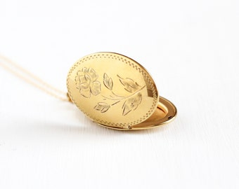 Vintage 12k Yellow Gold Filled Locket Necklace - 1940s 1950s Mid-Century Etched Floral Rose Romantic Love Carl Art Picture Jewelry