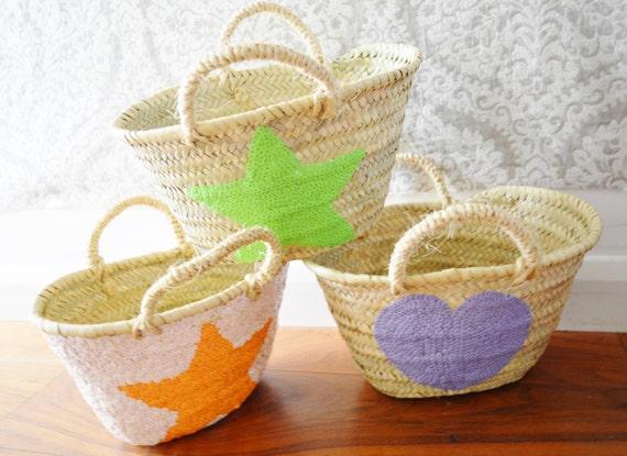 Kids Basket Panier Various Shapes -great for Storage, nursery, beach, picnic, holiday, Marrakech Basket Bag