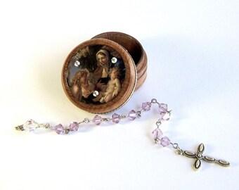 June Birthstone Pocket Rosary Set Virgin Mary Chaplet and Box Light Amethyst Crystal Birthday Mothers Day Gift