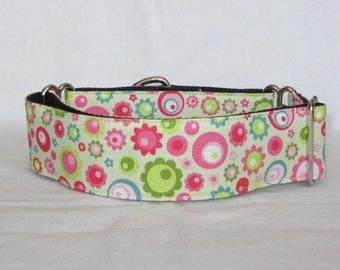 LAST ONE MEDIUM Green Gears Martingale Dog Collar - 1.5 Inch - colorful turquoise fun teal pink magenta
