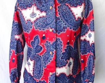 1970's Red, White & Blue Paisley Blouse