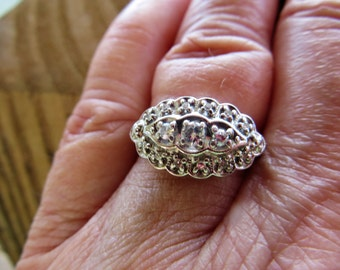 Circa 50s Exceptional 20KT Diamond Brilliant Princess 10kt White Gold Wedding Ring