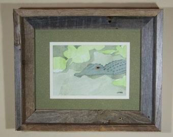 Original watercolor painting, unframed art, alligator