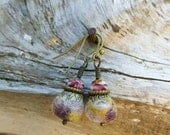 Handmade Earrings, Felted Wool Beads, Aromatherapy Earrings, Antique Brass, Fire Polished Glass Beads, One of a Kind