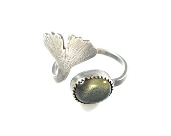 Labradorite Ginkgo Leaf Ring- Adjustable Gemstone Ring in Sterling Silver- Botanical Jewelry- Labradorite Ring Sizes 6-8