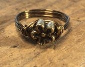 size 6.5 , 6 1/2 - tiny Flower antique brass gold wire wrapped wrap ring - metal beaded women girl teen men boy unisex jewelry garden spring