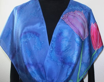 Blue Silk Scarf Handpainted. Azure Blue, Pink Hand Painted Silk Shawl. Handmade Scarf FOUR TULIPS, in 2 SIZES. Birthday, Bridesmaid Gift