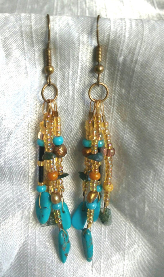 BellaMonicaARTs beaded Tassel Earrings with Natural Gemstones