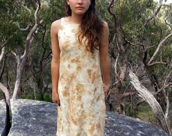 Silk nuno felt dress, eco print golden brown and cream bark