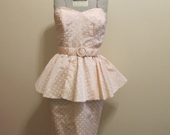Dress 1980s prom pink satin polka dot peplum S