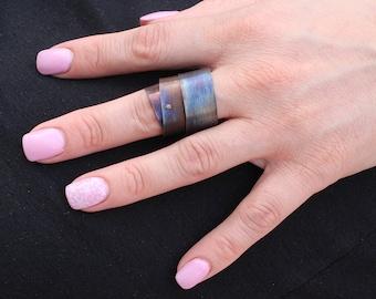 Black titanium ring, big rings, chunky ring unisex rings, modern ring, contemporary ring, statement ring large, minimalist ring