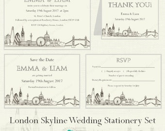 London Skyline printable Wedding Invitation Set - hand drawn city skyline, customised invitation, save the date, rsvp & thank you cards