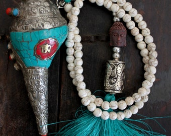 Buddha face Statement Long layering necklace White and Turquoise silk tassel Boheminan Hippie Gypsy Yoga Nepal style design by Inali