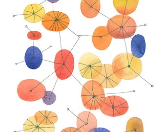 Mid Century modern art print  Connecting the dots -  orange dots - giclee print watercolor painting orange blue yellow