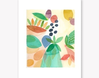 Abstract watercolor - Original watercolor painting - Floral watercolor green olives
