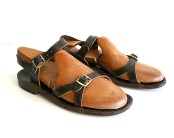Brown Leather Strappy Sandals 9