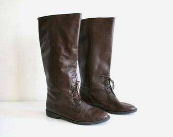 Brown Tall Laced Boots 10