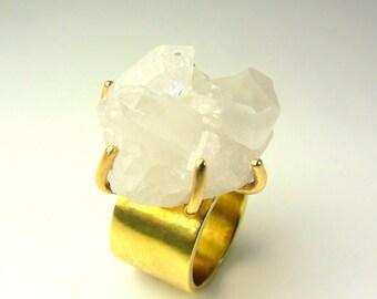 CELESTE Quartz Crystal Cluster Ring with Golden Brass Band Sz 5 3/4