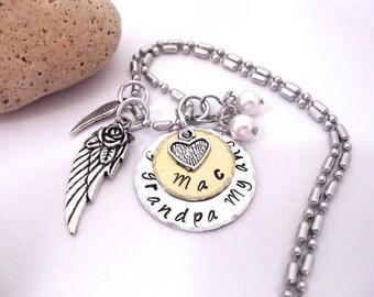 Grandpa Memorial Jewelry, Grandpa Memorial Necklace, My Grandpa My Angel, Grandpa Bereavement, Loss of Grandpa, Grandpa Loss