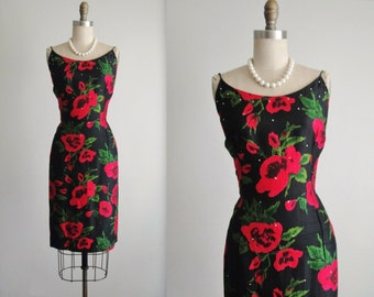 50's Cocktail Dress // Vintage 1950's Floral Print Silk Cocktail Party Wiggle Dress M