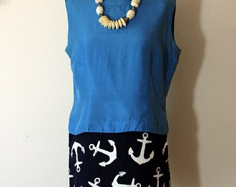 1960s Blue Silk Blouse Sleeveless // Large