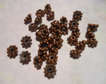 Destash Beads, Lot of Over 30,Tiny, 5 mm Bead Caps, Copper Bead Caps, Antique Copper, Very Small, Clearance, Sale, Findings Destash