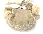 RESERVED for ANNE -- Antique Beaded Purse with Point de Beauvais Stitching, Densely Beaded, Bridal