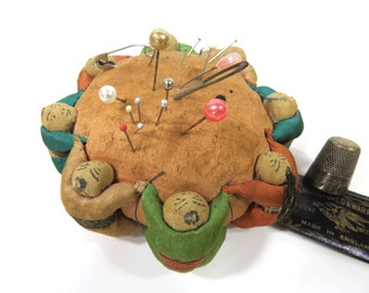 Vintage Pin Cushion with 8 Holding Hands Chinese Asian Children - Sewing Accessory