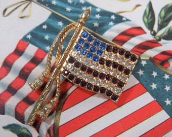 Vintage U. S. A. Flag Brooch Pin, Red, Blue, Crystal Rhinestones, Memorial Day, 4th of July, Patriotic Holiday Jewelry