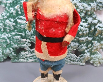 Vintage Santa Claus Figure with Celluloid Face - Made in Japan 1930s, Christmas Decor