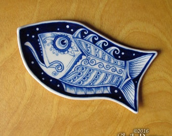 Fish Dish - handmade ceramic sushi plate mini trinket holder