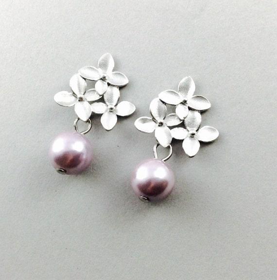 Lavander Pearl Earrings In Matte Silver With Three Flower Motif And Lavander South Sea Pearls