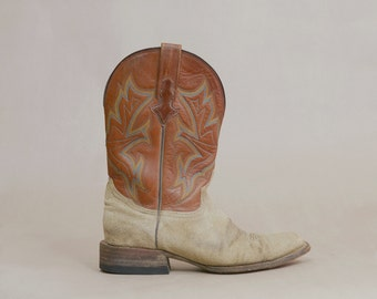 Cowboy Boots Tan Suede Turquoise Stitching 80s Western Square Toes Stacked Heels 1980s Stetson / Men's 9 Women's 10.5