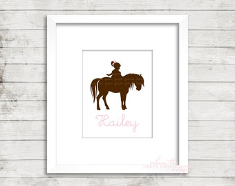Personalized Girl Riding Pony 8x10 Print, Nursery Art Girl, Nursery Art, Wall Art, Pony Art, Cowgirl Art, Western Art, Cowgirl Nursery