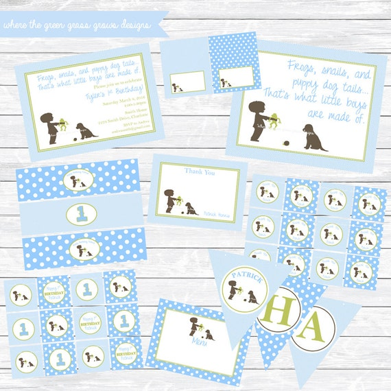 Frogs, Snails and Puppy Dog Tails Printable Party Package - Green and Light Blue, new baby, baby shower, Birthday Party