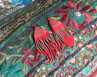 Native American Beaded Red Earrings